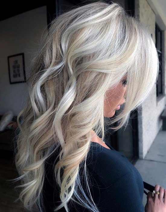 Длинная стрижка блондинка