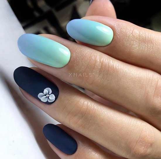 Мятно-синий с цветочками