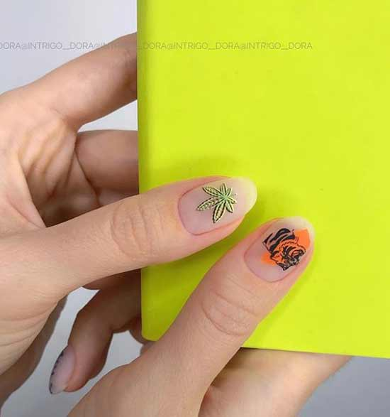 Пальма на ногтях в светло-зеленом цвете