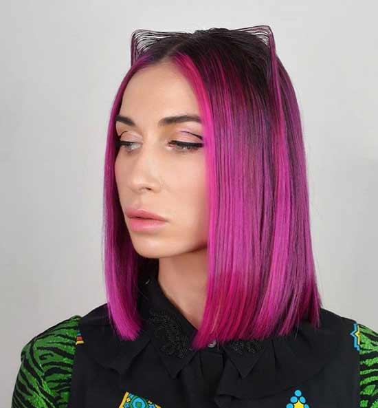 Красно-фиолетовый цвет волос