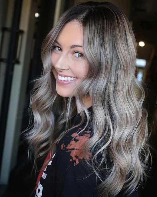 Серебристое окрашивание длинные волосы