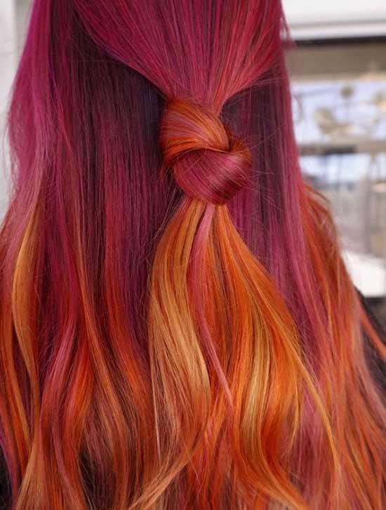 Красно-оранжевое окрашивание длинных волос