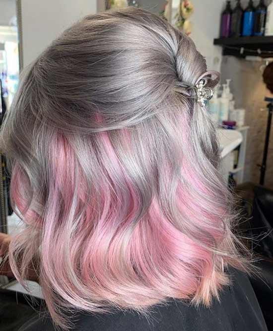 Серо-розовое омбре