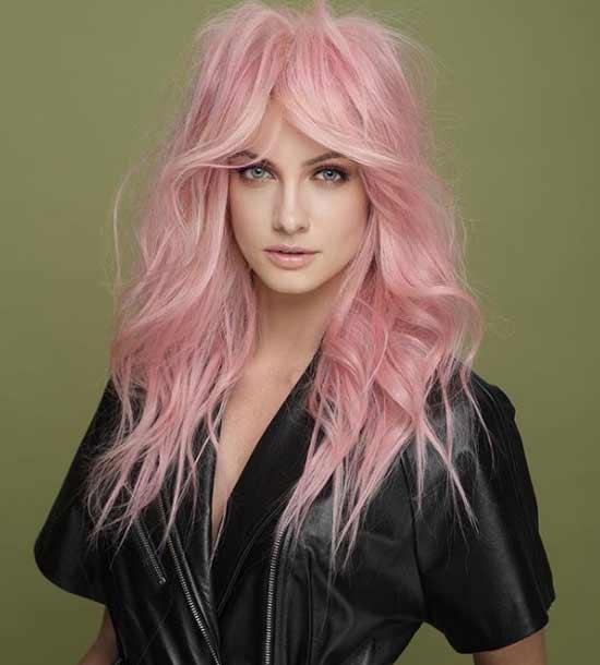 Окрашивание длинных волос в розовый