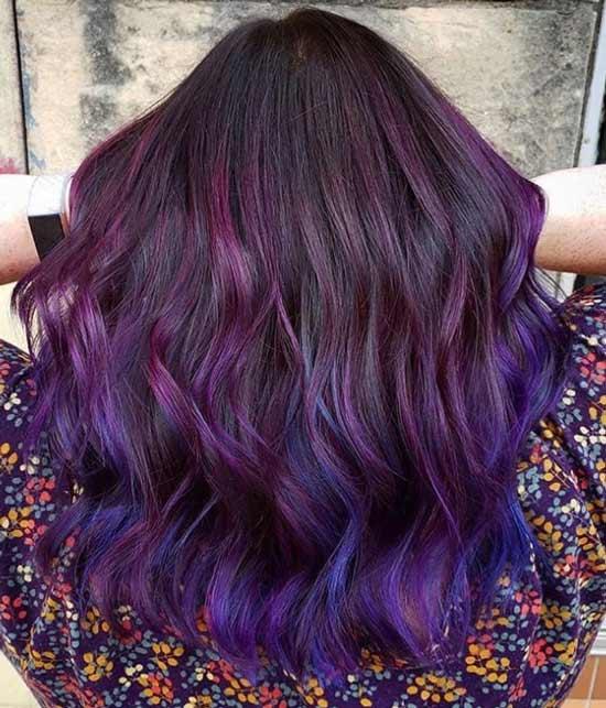 Сине-фиолетовое окрашивание волос