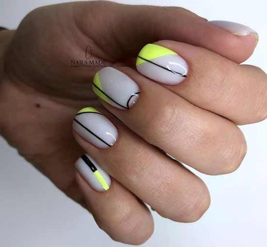 Цветной френч короткие ногти