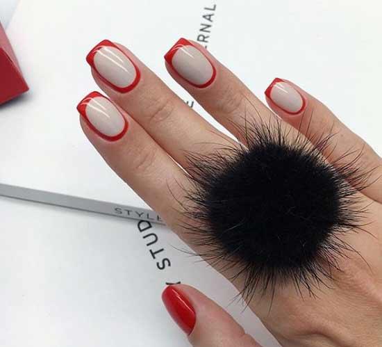 Красный французский дизайн ногтей