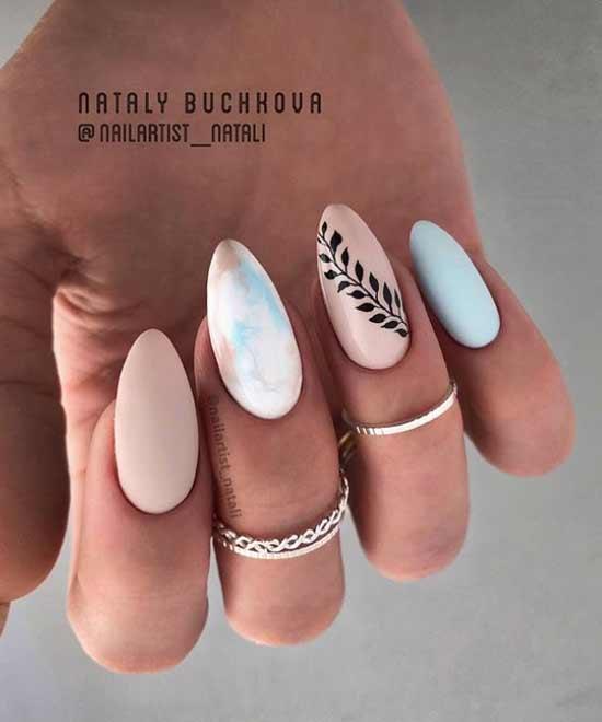 Дизайн ногтей с растительным принтом