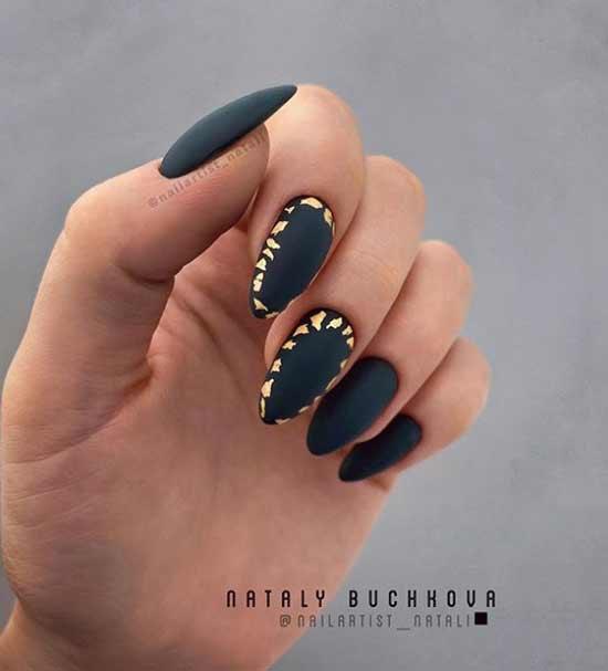 Черный маникюр длинные ногти