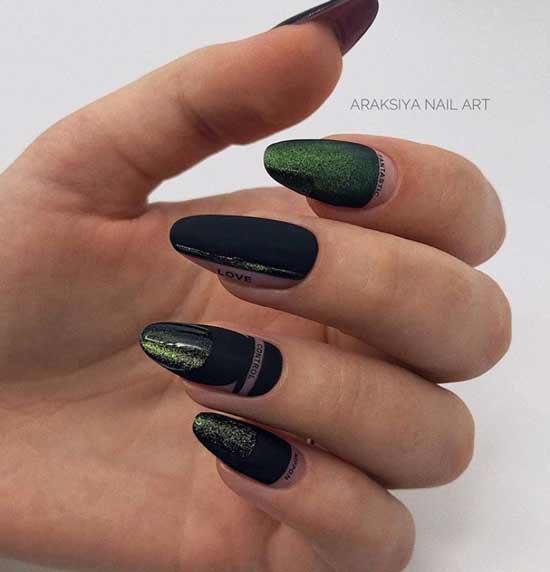 Матовый маникюр длинные острые ногти