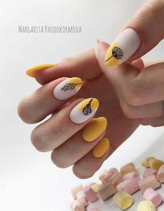 Дизайн острых ногтей средней длины