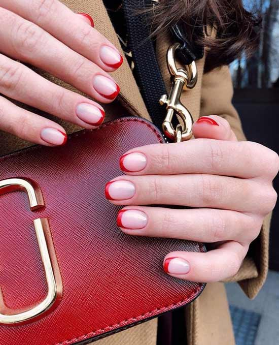 Короткие ногти красные улыбки