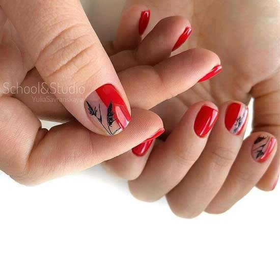 Красный с бежевым маникюр