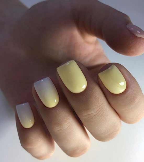 Жето-белый градиент короткие ногти