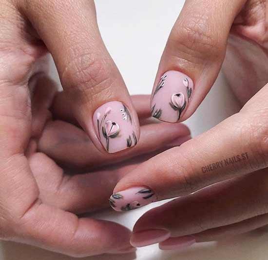 Нежный дизайн короткие ногти