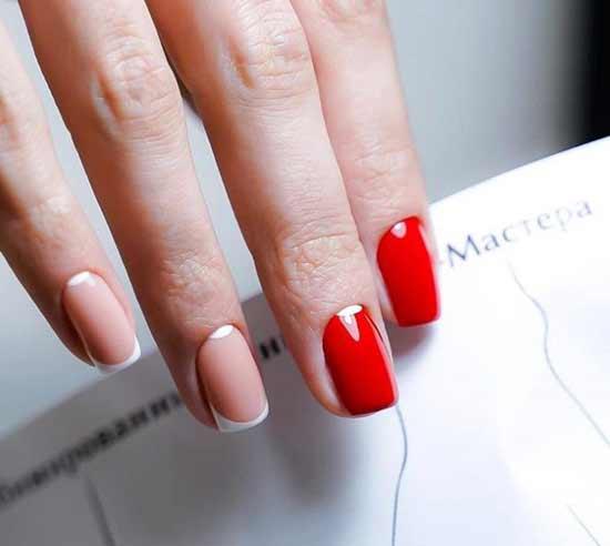 Красный с лунным дизайн коротких ногтей