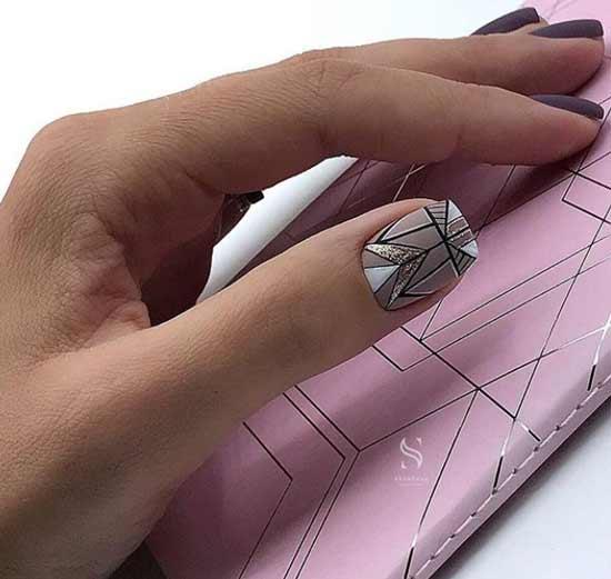 Рисунок геометрии матовый маникюр