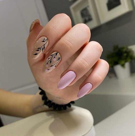 Рисунок на двух ногтях