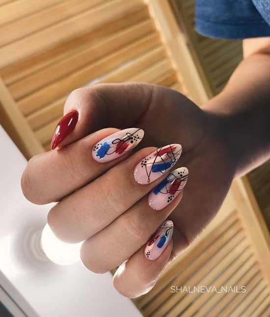 Острые ногти с рисунком