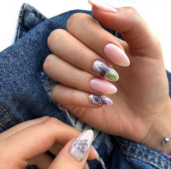 Миленький маникюр длинные ногти
