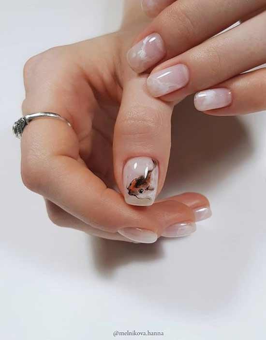 Миленькие животные на ногтях