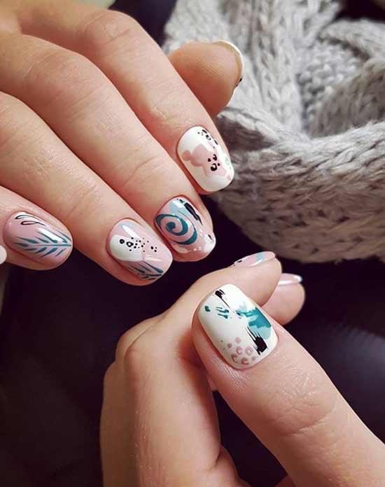 Милые зефирки на ногтях
