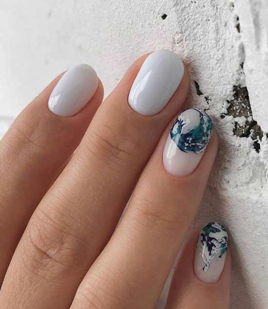 Милые листочки на ногтях