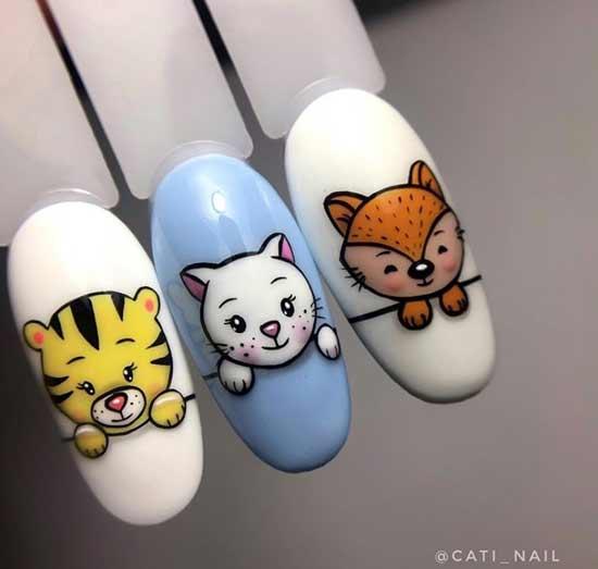 Милые животные на ногтях примеры