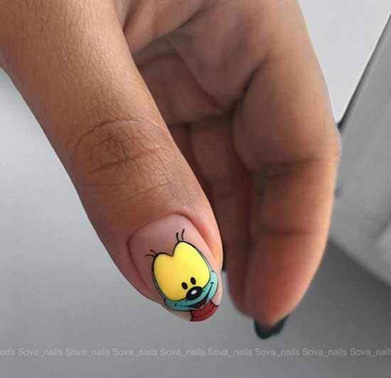Рисунки мультяшек на ногтях