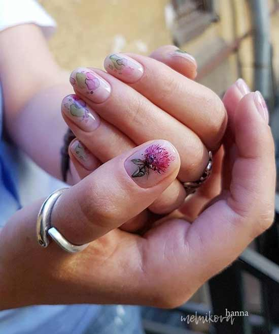 Акварель рисунок на ногтях