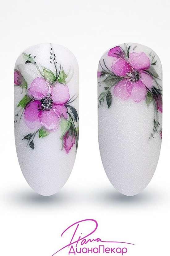 Акварель рисунки на ногтях