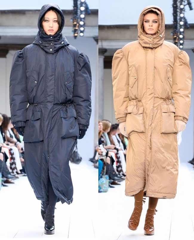 Дутые пальто с капюшоном