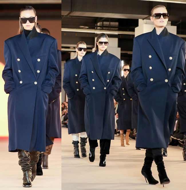 Модные черные пальто Balmain