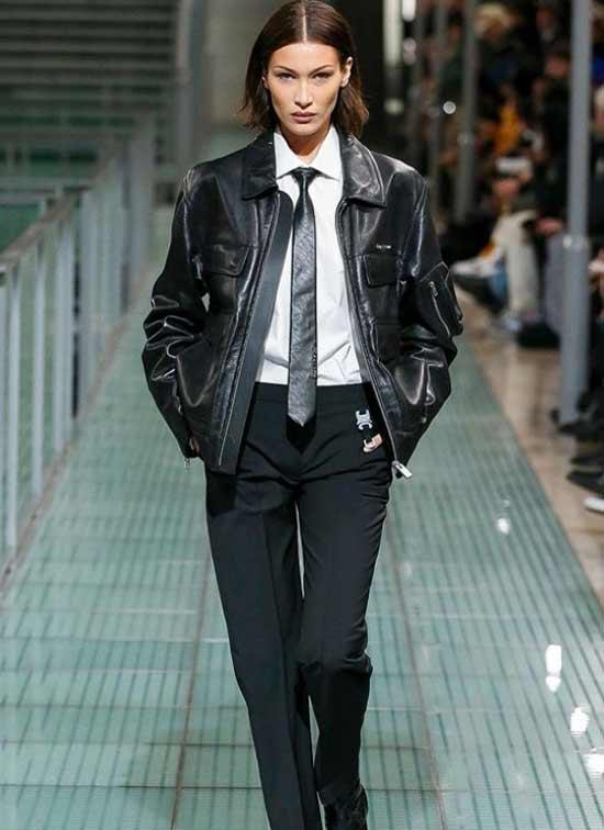 Белла Хадид модная кожаная куртка из кожи