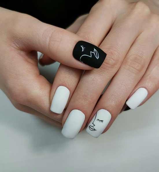 Белый с черным маникюр