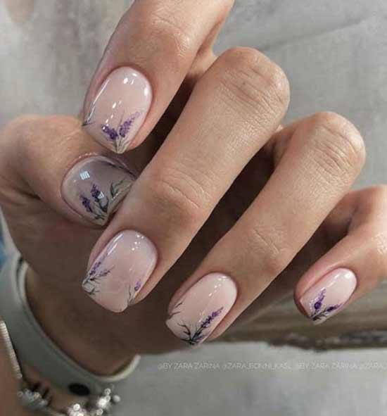 Дизайн ногтей нюд в стиле прованс