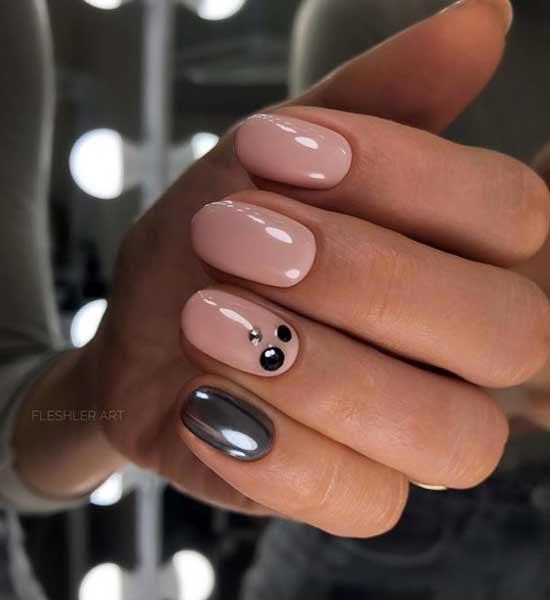 Нюд дизайн ногтей с втиркой