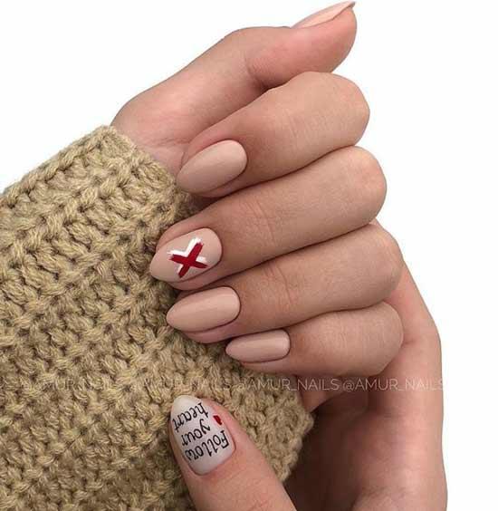 Простые рисунки на ногтях в стиле нюд
