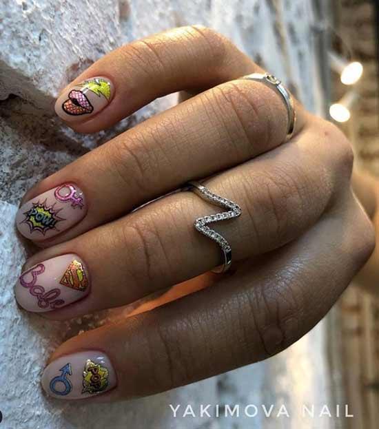 Маникюр с наклейками ibdi_nails