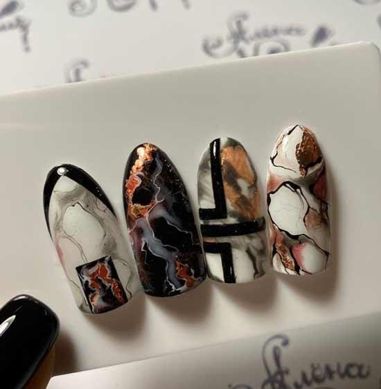 Коричневые текстуры на ногтях
