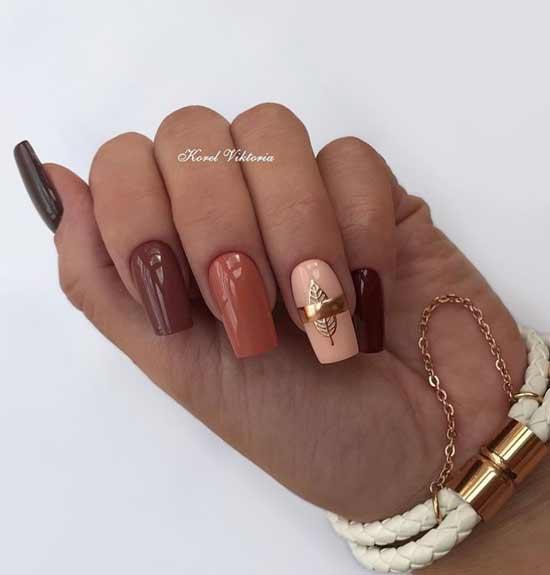 Разные оттенки коричневого на ногтях