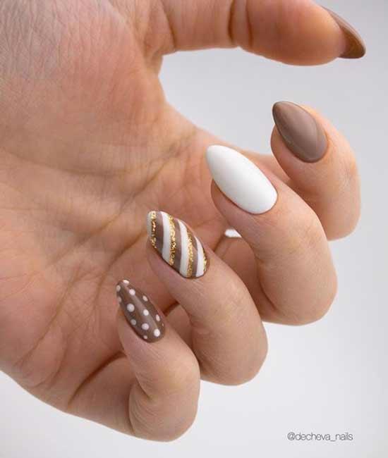 Белый коричневый и золотой дизайн ногтей