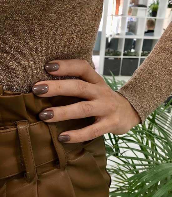 Однотонный коричневые ногти