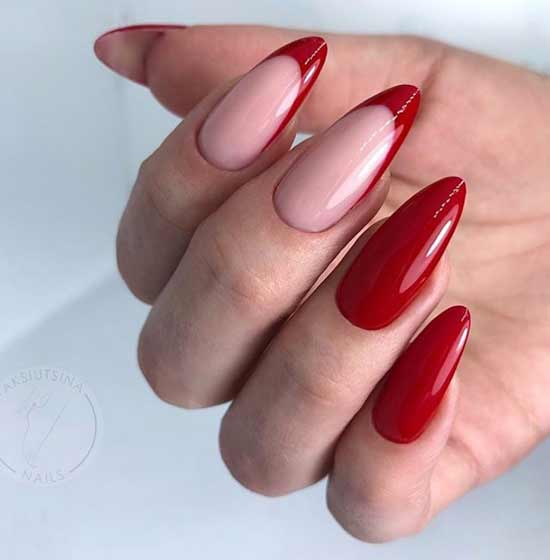 Красный френч длинные ногти