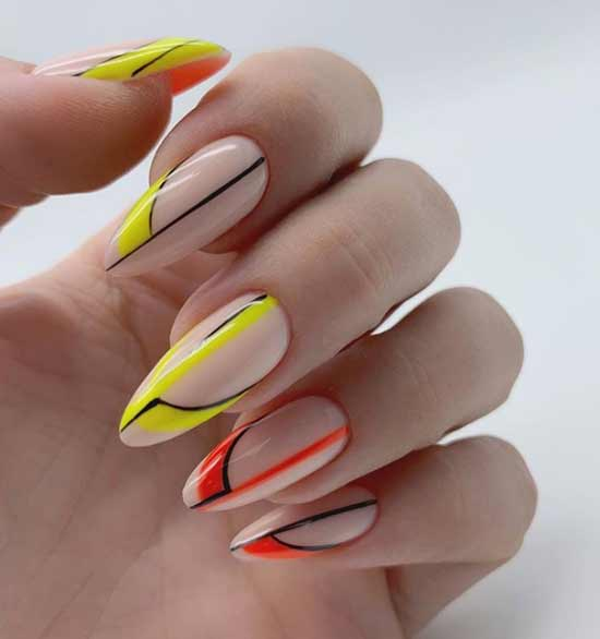 Геометрия-френч длинные ногти