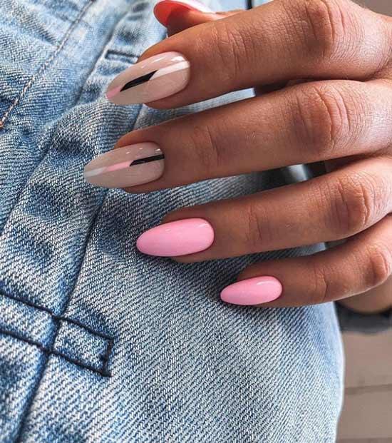Бежево-розовый нейл-арт длинные ногти