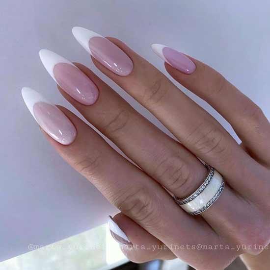 Белый френч длинные ногти