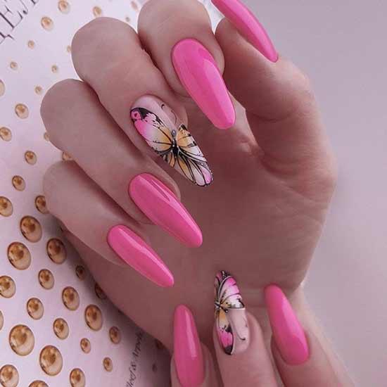 Длинные ногти с красивой бабочкой