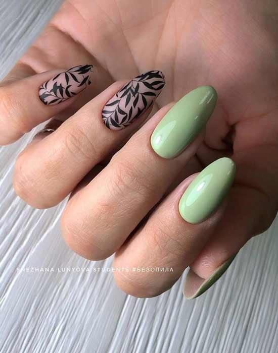 Стемпинг дизайн длинные ногти