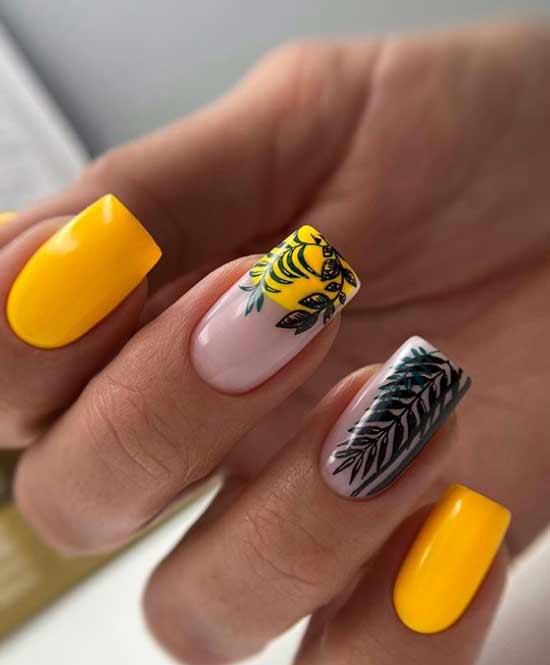 Красивые квадратные длинные ногти в яркой гамме